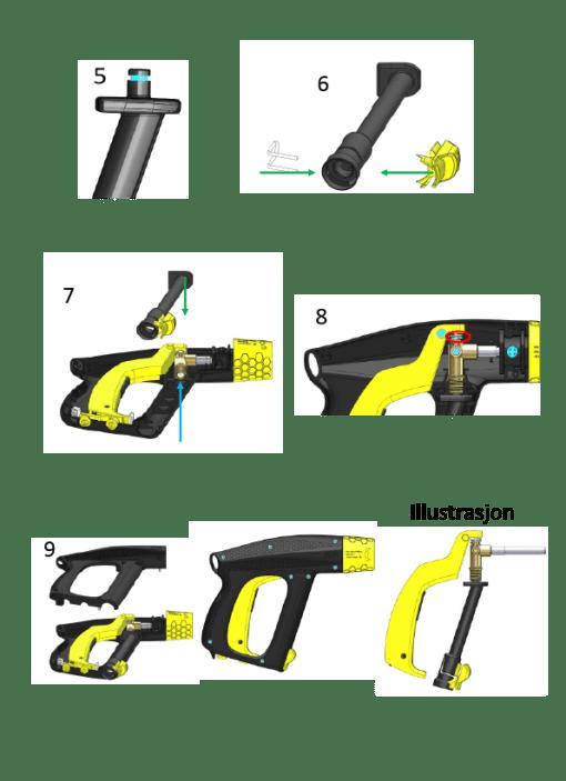 fremgangsmåte rør bytte pistol
