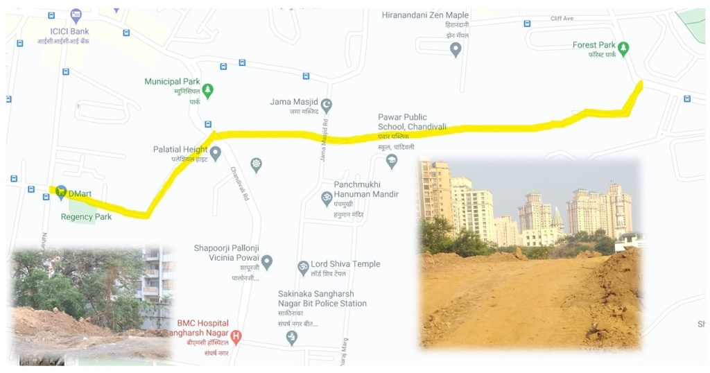 Construction of Chandivali-Hiranandani new connecting road has started and will be opened to the public soon.