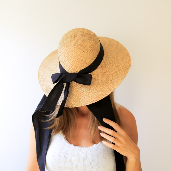 unrecognizable woman with a straw hat covering her face