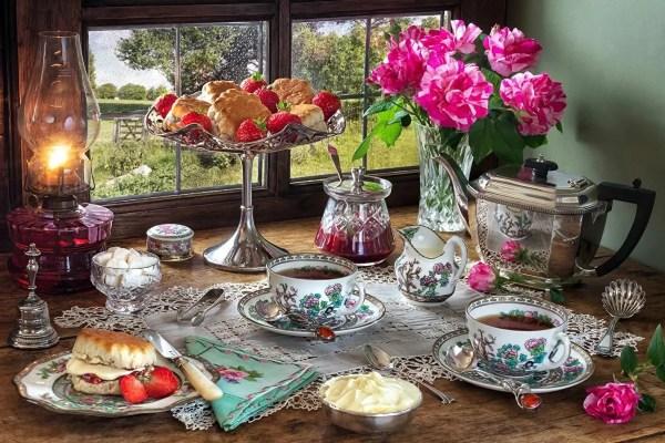 Фото Скатерть Чай Розы сливками Керосиновая лампа Чайник ...