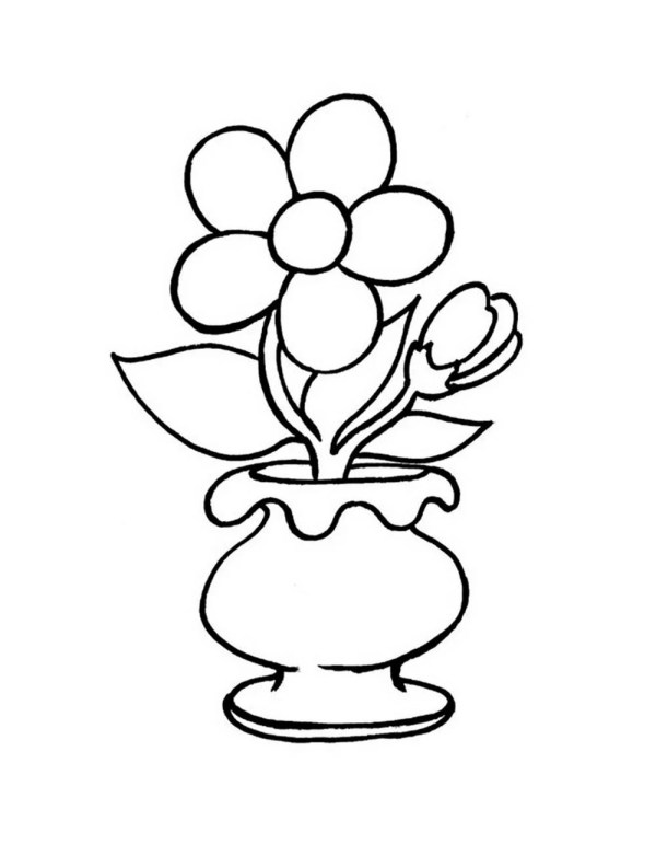 «Раскраска ваза с цветами. Распечатать картинки ваза без ...