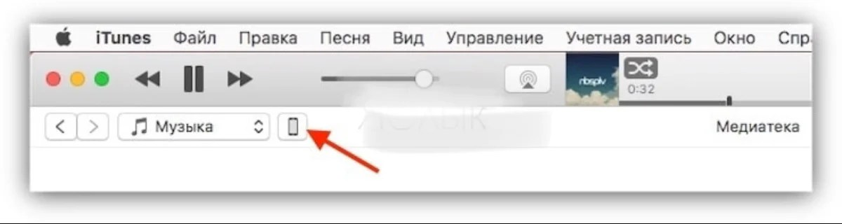 Figure 11. Click on the icon with the phone in iTunes.