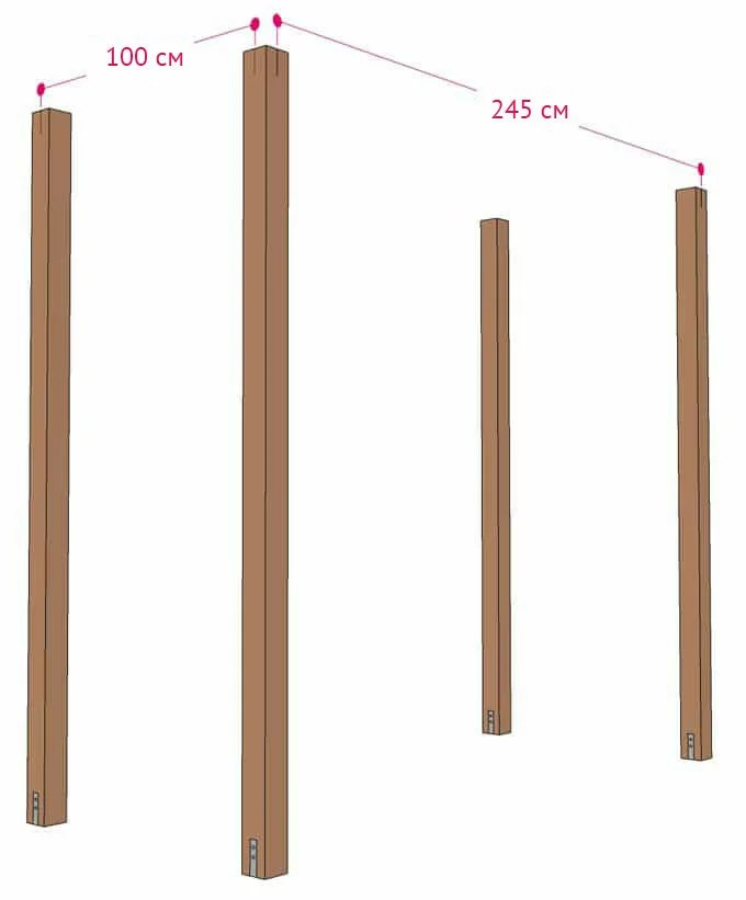 6. Distances between the axes of the posts
