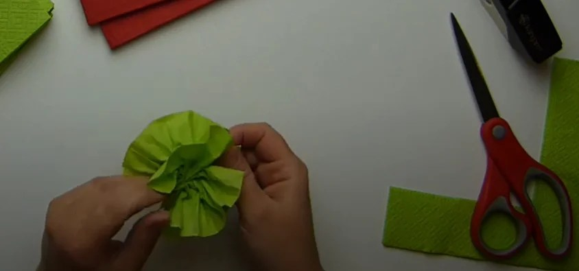 From the napkins cut the same squares and stuck them together.