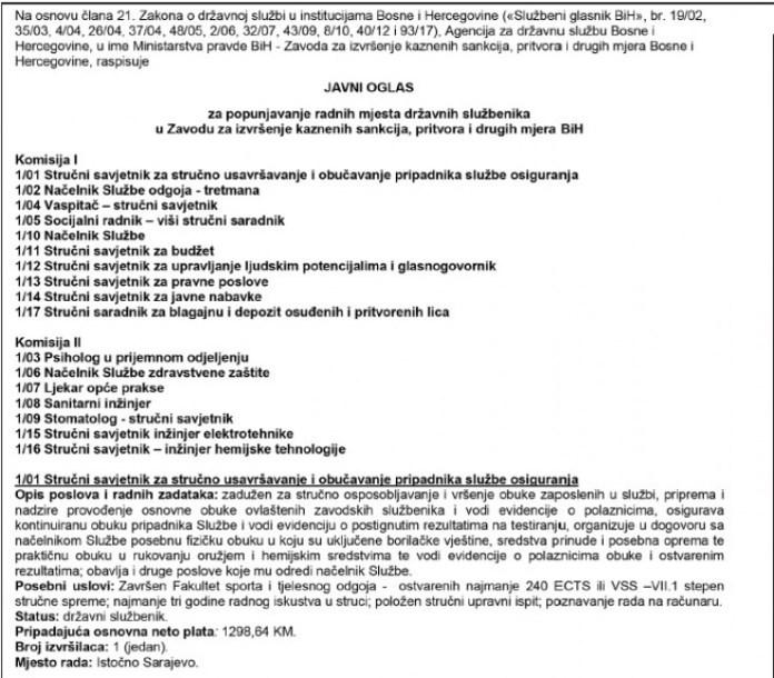 Raspisan je konkurs za 17 pozicija  - Avaz, Dnevni avaz, avaz.ba
