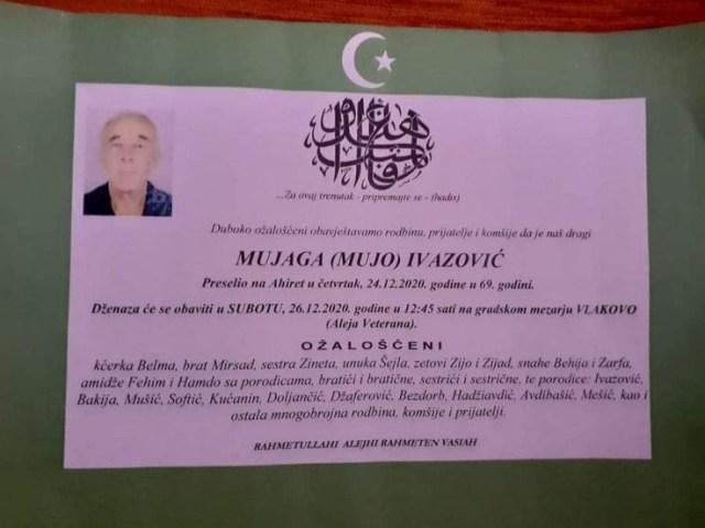Ivazović je preminuo u 69. godini