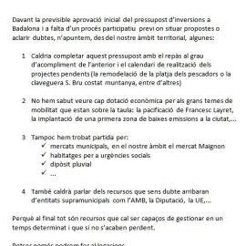 PRESSUPOST D'INVERSIONS A BADALONA | ALGUNES CONSIDERACIONS