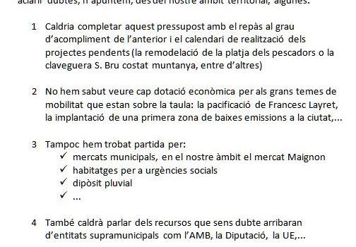 PRESSUPOST D'INVERSIONS A BADALONA   ALGUNES CONSIDERACIONS