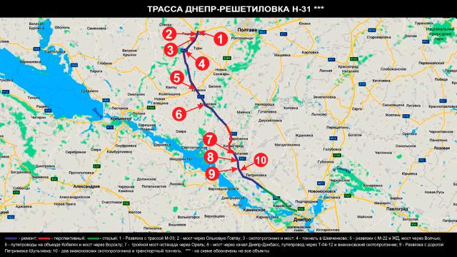 Схема-трассы-Н-31 Днепр-Решетиловка