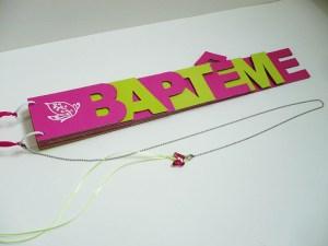Livre d'or baptême papillon anis fushia