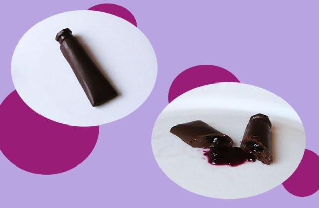 tube de peinture en chocolat tuto