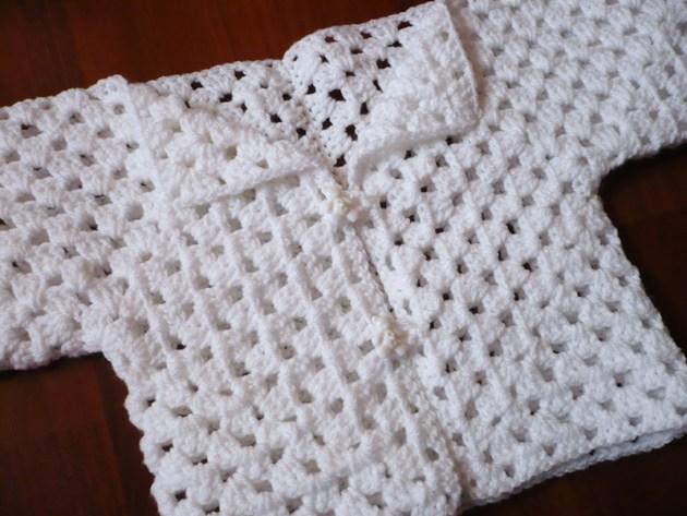 shrug crochet blanc