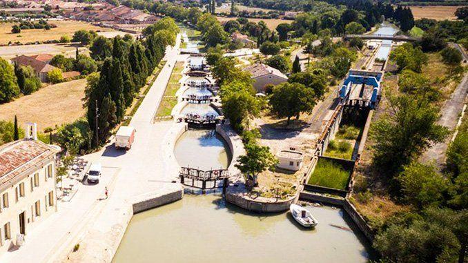 Imagen aérea de las esclusas de Fonserane