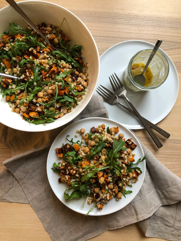 grain salad with shallot dressing