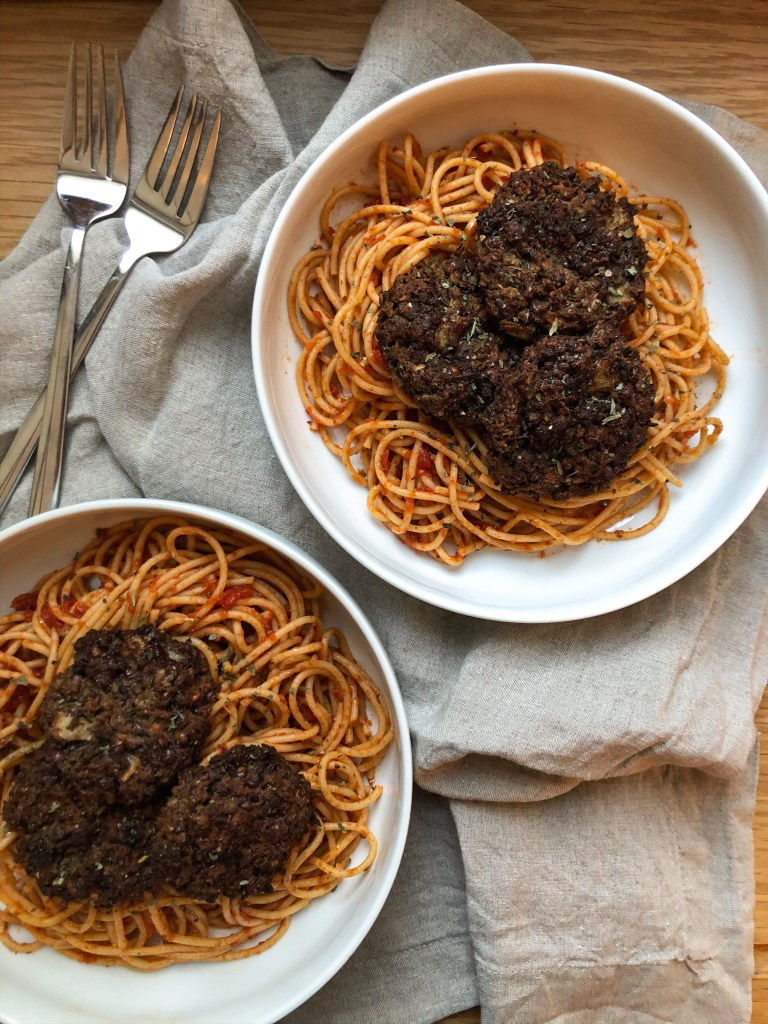 "Lentil ""meatballs"" with spaghetti"