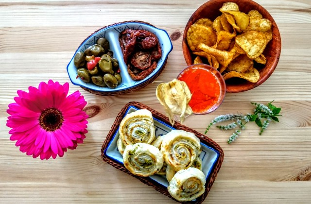 Courgette and Smoked Paprika Pastry Rolls with party food
