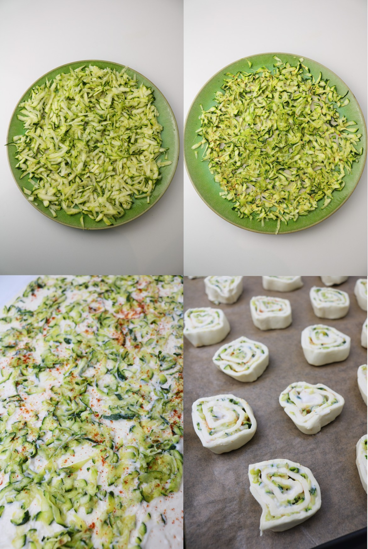 vegan courgette and smoked paprika pastry rolls preparation picture collage