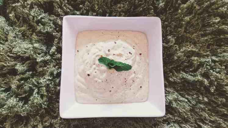 vegan tzatziki sauce served