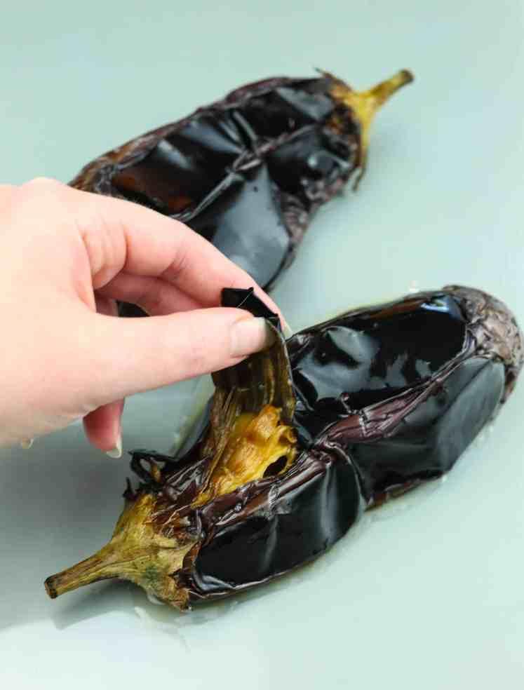 peeling aubergine skin