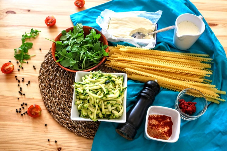 Creamy Courgette and Rocket Pasta ingredients