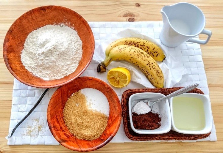 Banana and Chocolate Marble Plum Cake ingredients