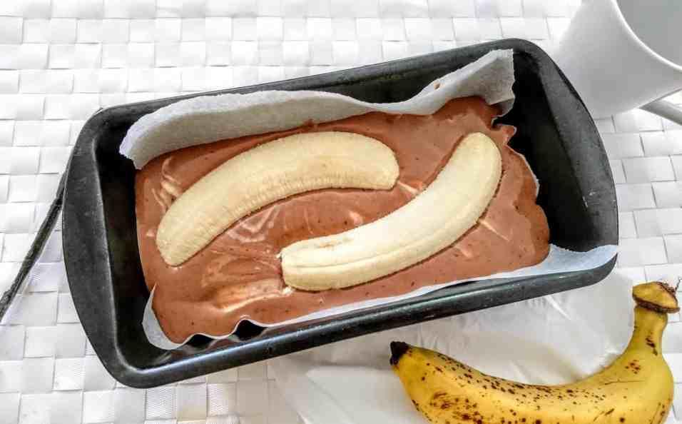 Banana and Chocolate Marble Plum Cake pre oven