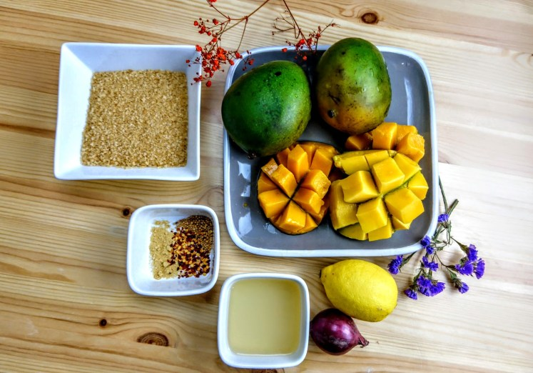 ingredients for spicy mango chutney