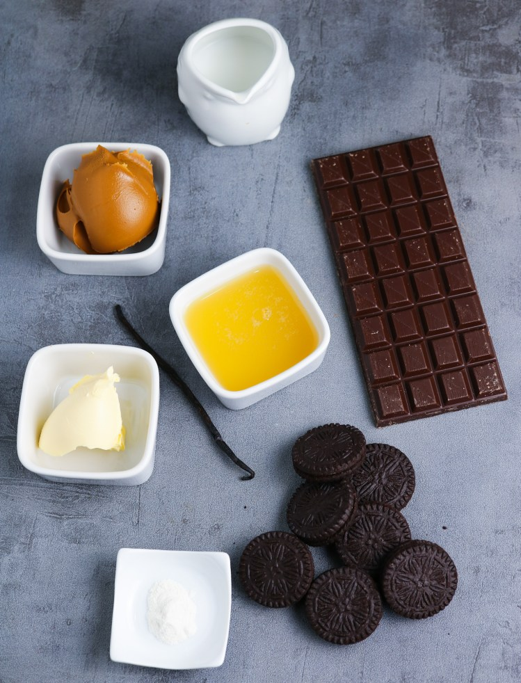 ingredients for Chocolate Mousse and Biscoff Tart