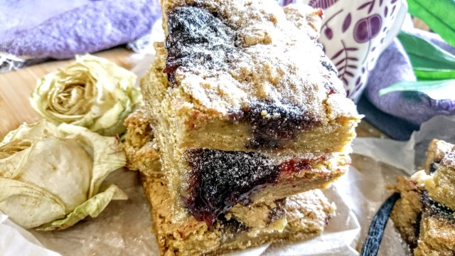 close up soft shortcrust jam cake vegan