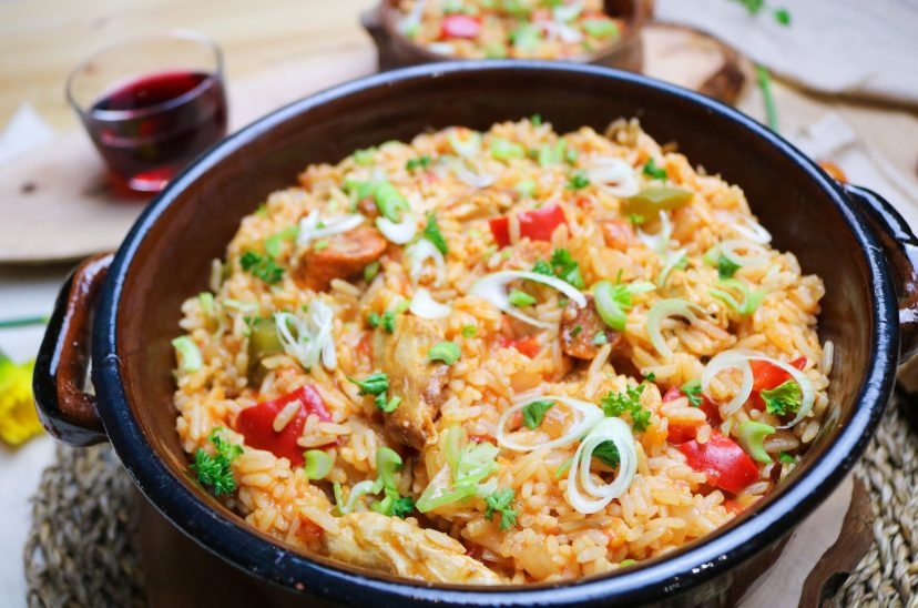 Plant Based Jambalaya in dish from side