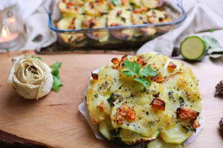 porzione di patate e zucchine