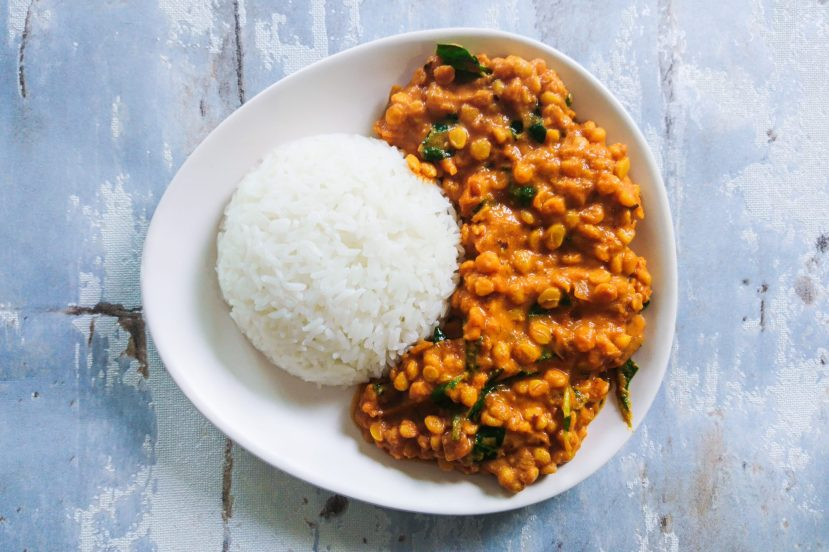 Super Delicious Dahl Makhani on a plate served with rice