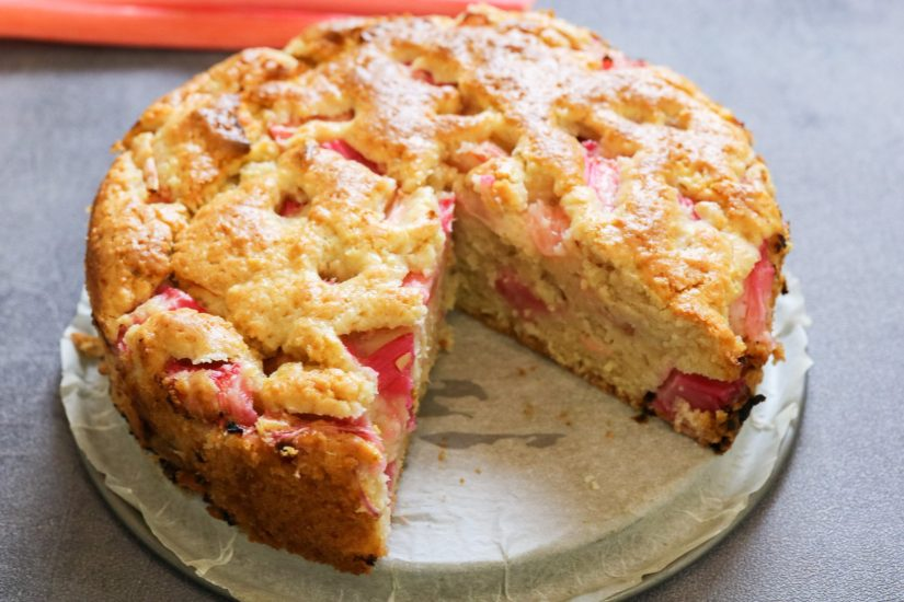 close up of Deliciously Moist Rhubarb Sponge on baking tray