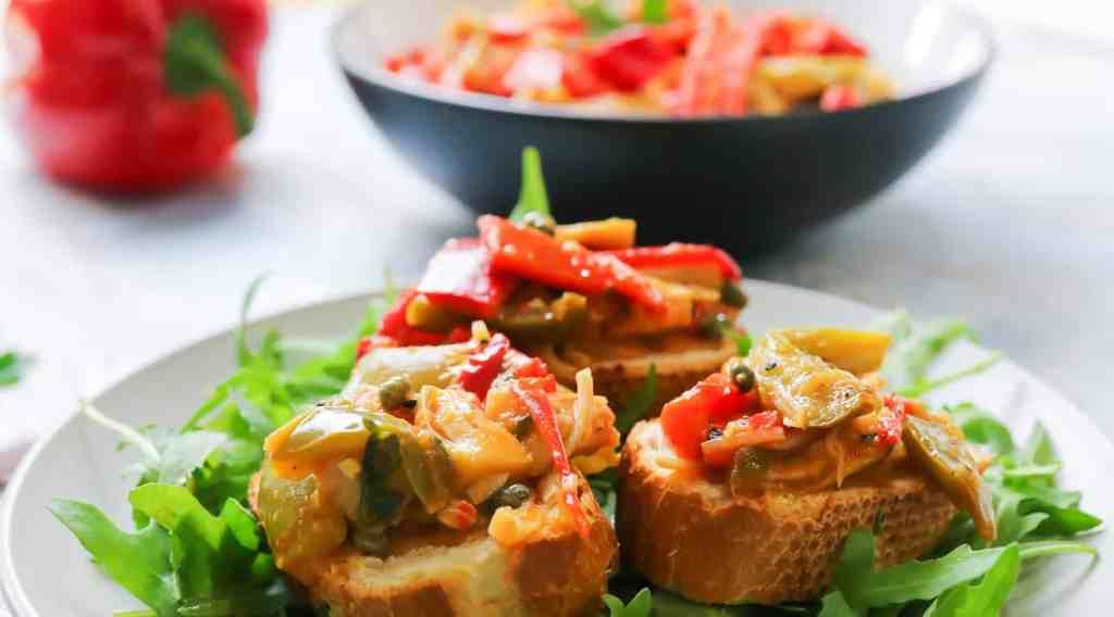Bell Peppers and Jackfruit on bruschetta