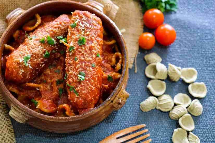 Vegan Seitan Braciole in a casserole dish