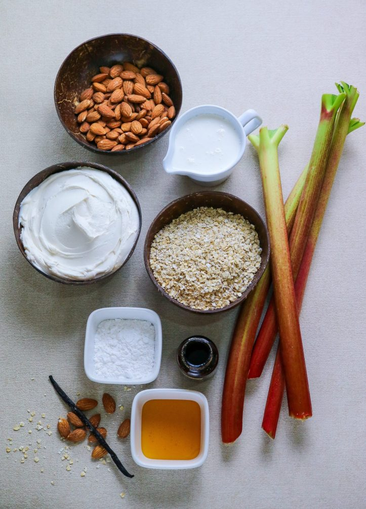 ingredients for Rhubarb Baked Cheesecake