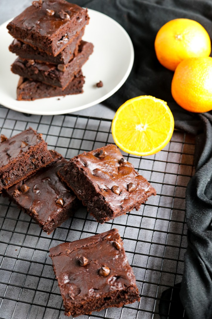 Oil-Free Decadent Orange & Chocolate Brownies vegan, vegetarian and gluten free slices