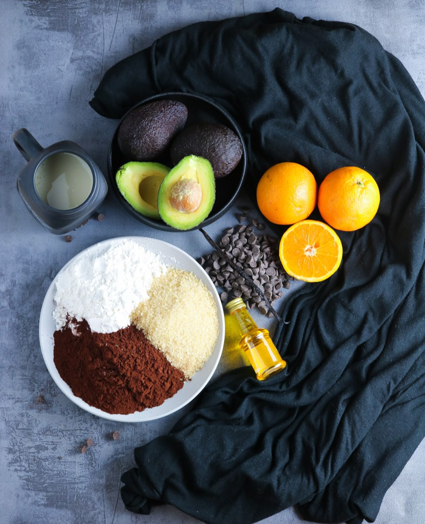 raw base ingredients for chocolate brownies vegan and gluten free no oil orange