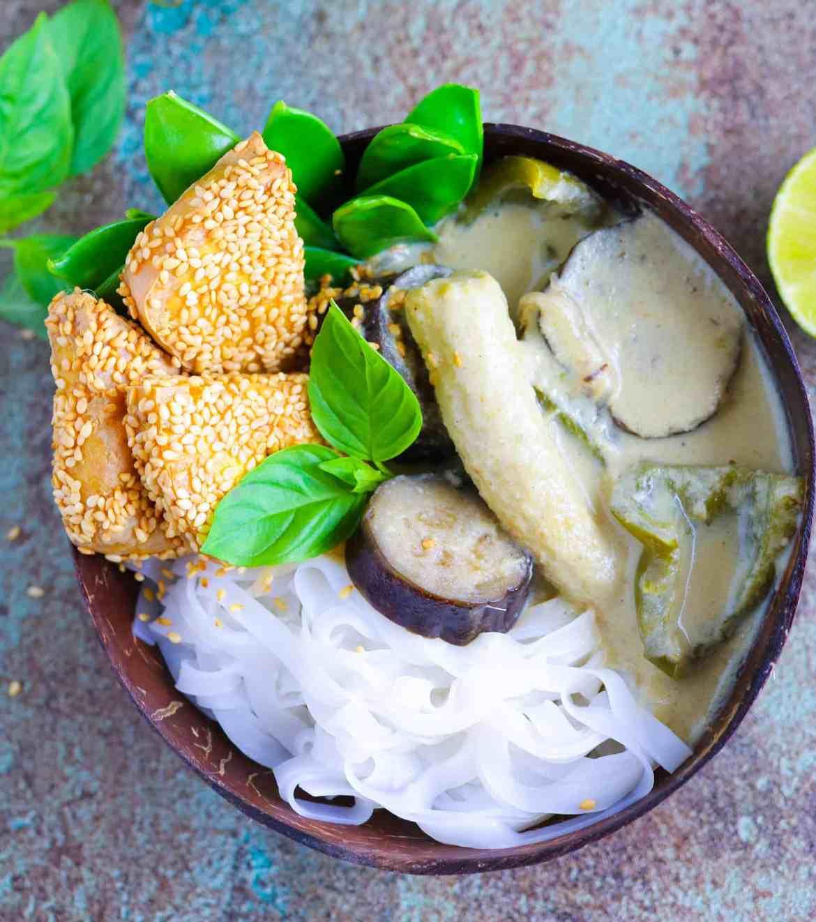 Thai Green Curry with Crispy Sesame Tofu