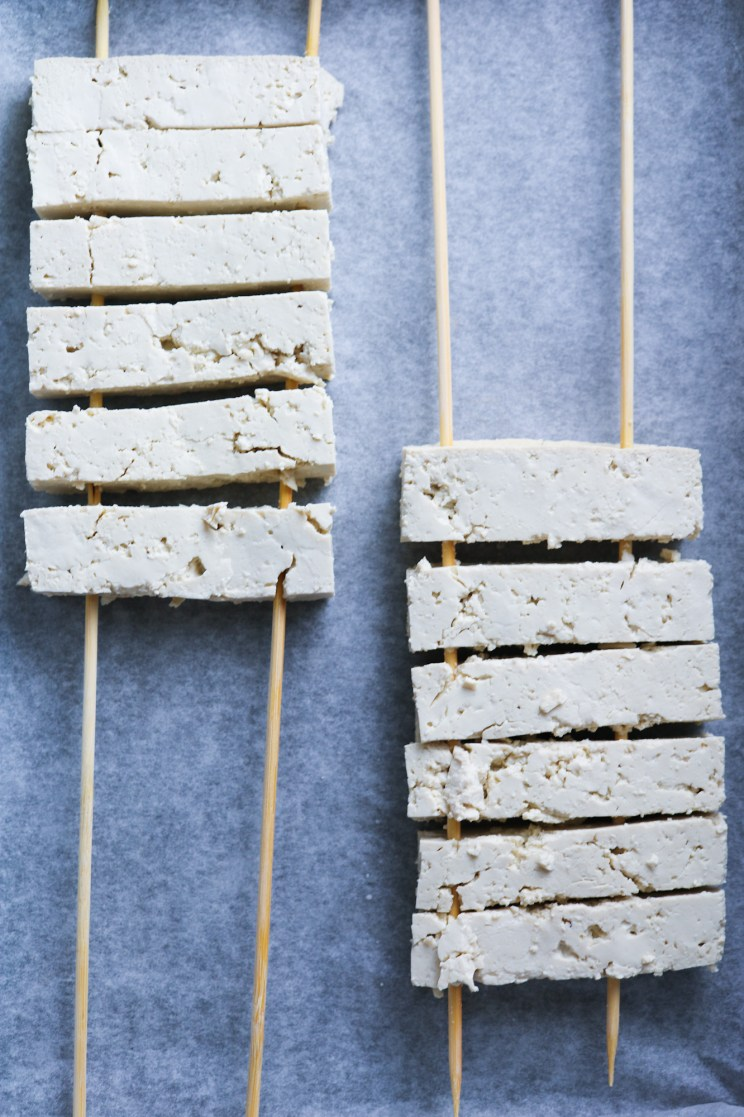 strips on wooden skewers