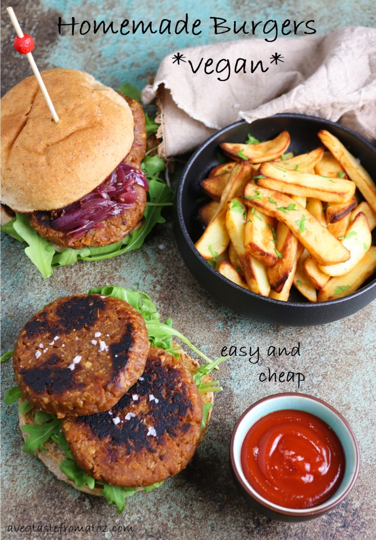 Vegan burgers patties made of soy TVP and gluten with oven baked chips on a side, ketchup and red onion chutney for pinterest