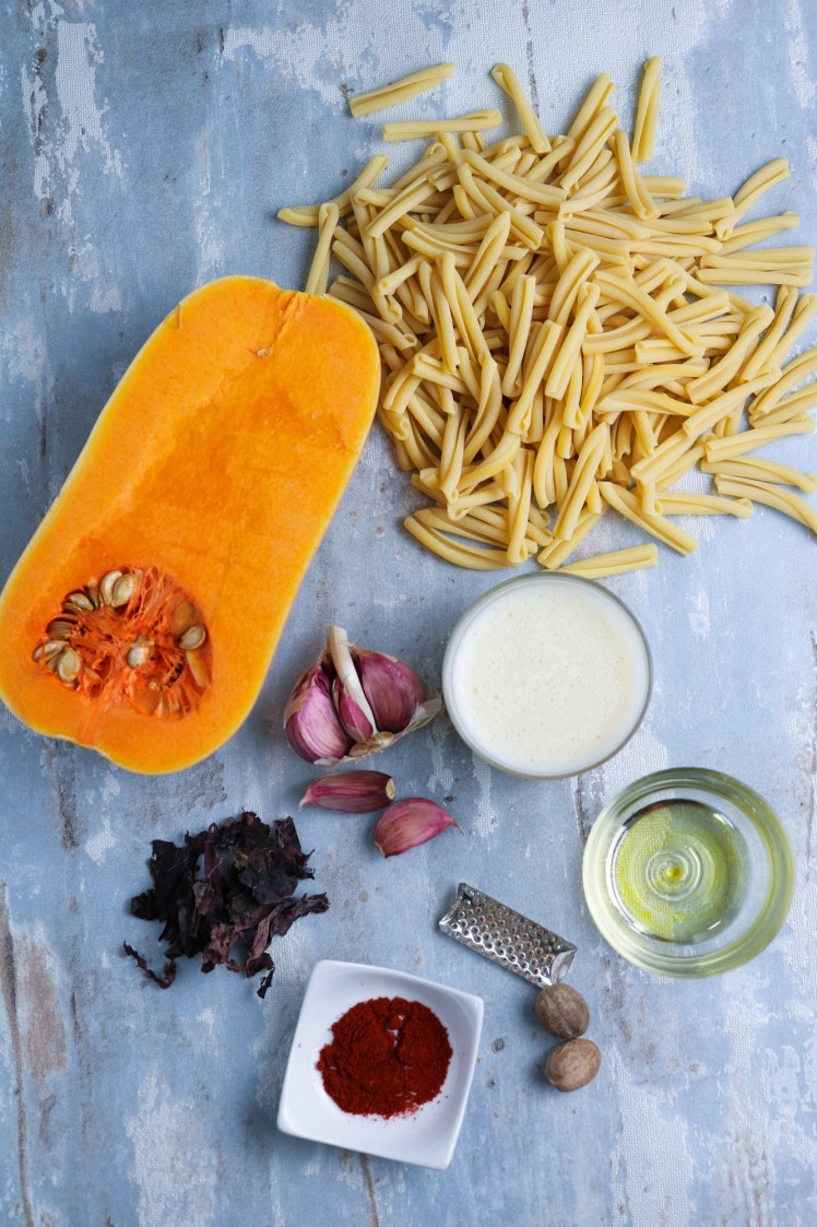 Ingredients to make Butternut Squash Pasta with Crispy Smoked Seaweed