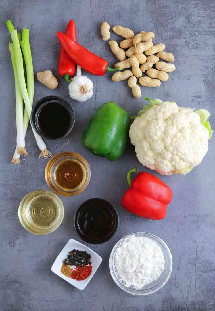 basic ingredients for Kung Pao Cauliflower vegan and vegetarian