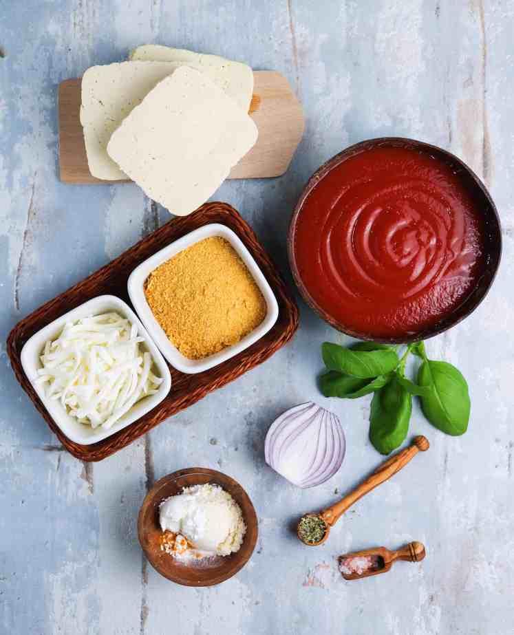 ingredients to make vegan Tofu Parmesan