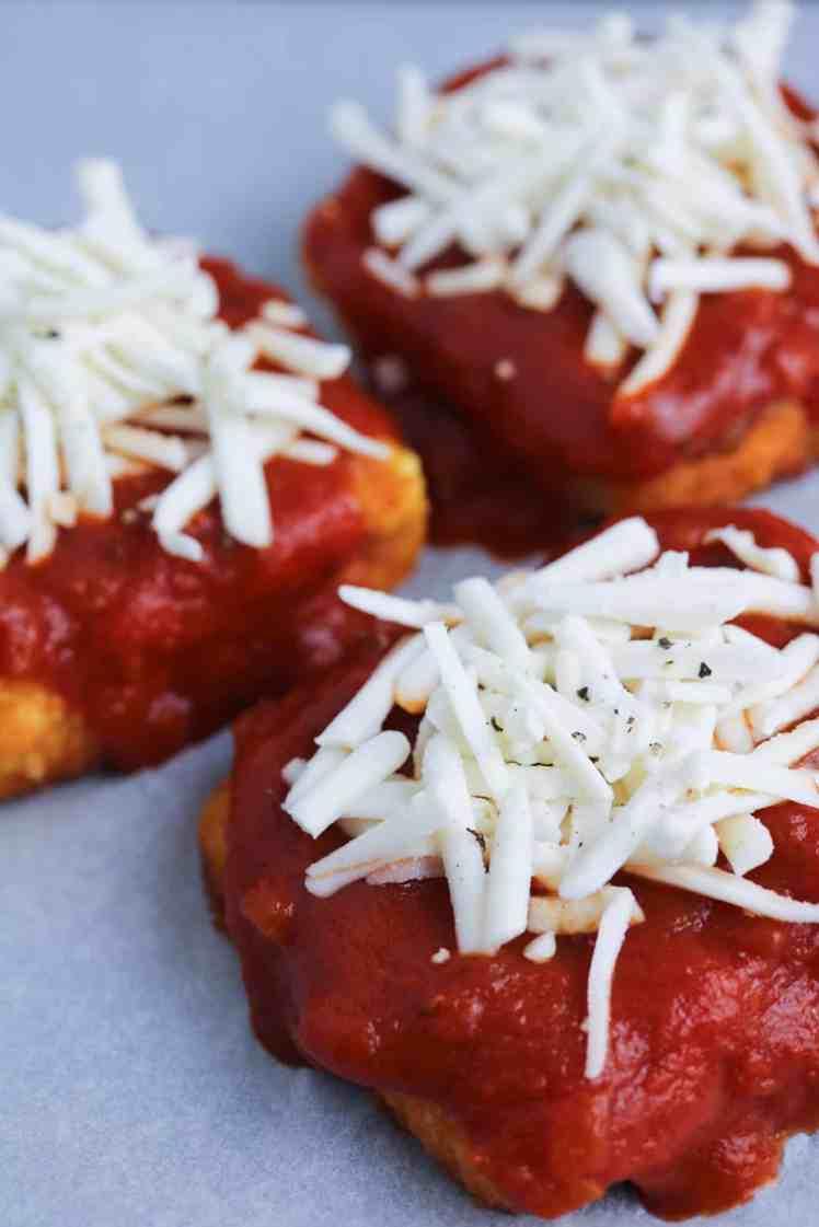 mozzarella topped Tofu Parmesan close up