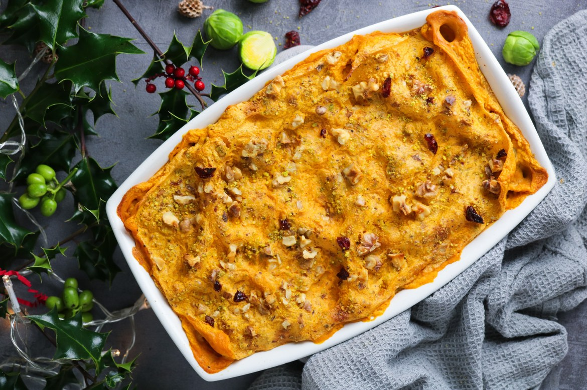 Butternut Squash Lasagna with Brussels and Cranberries | Perfect for Christmas!