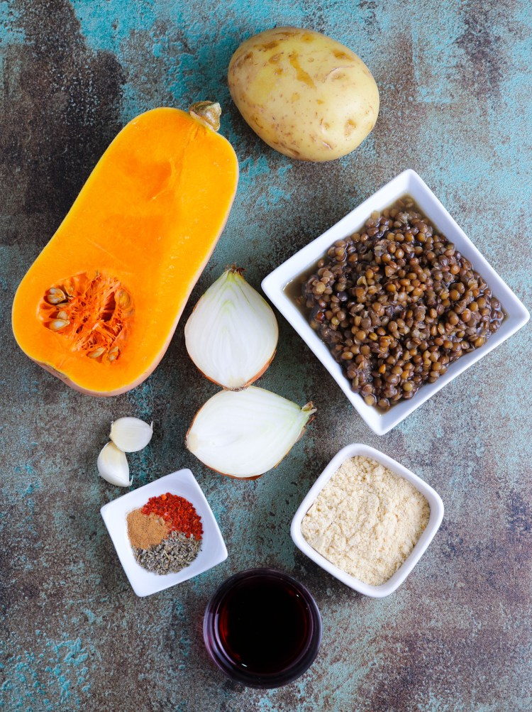 squash and lentil pie ingredients