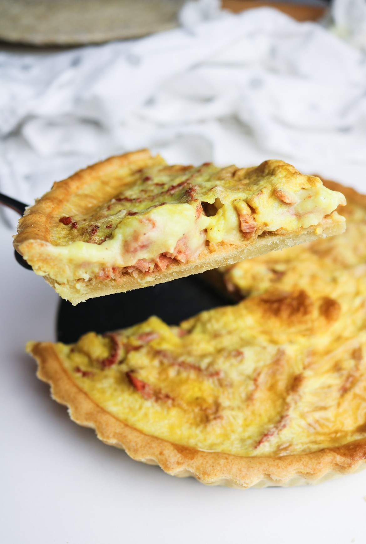 Vegan Quiche Lorraine Closed Up Slice