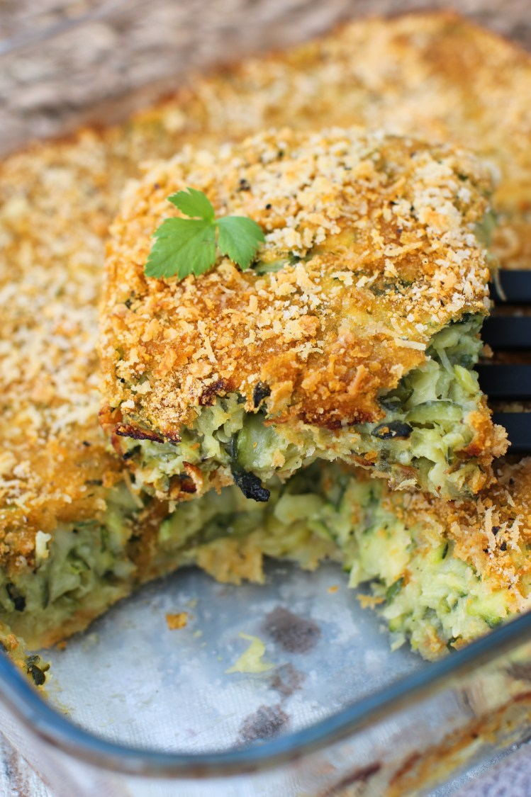 courgette baked frittata slice on spatula