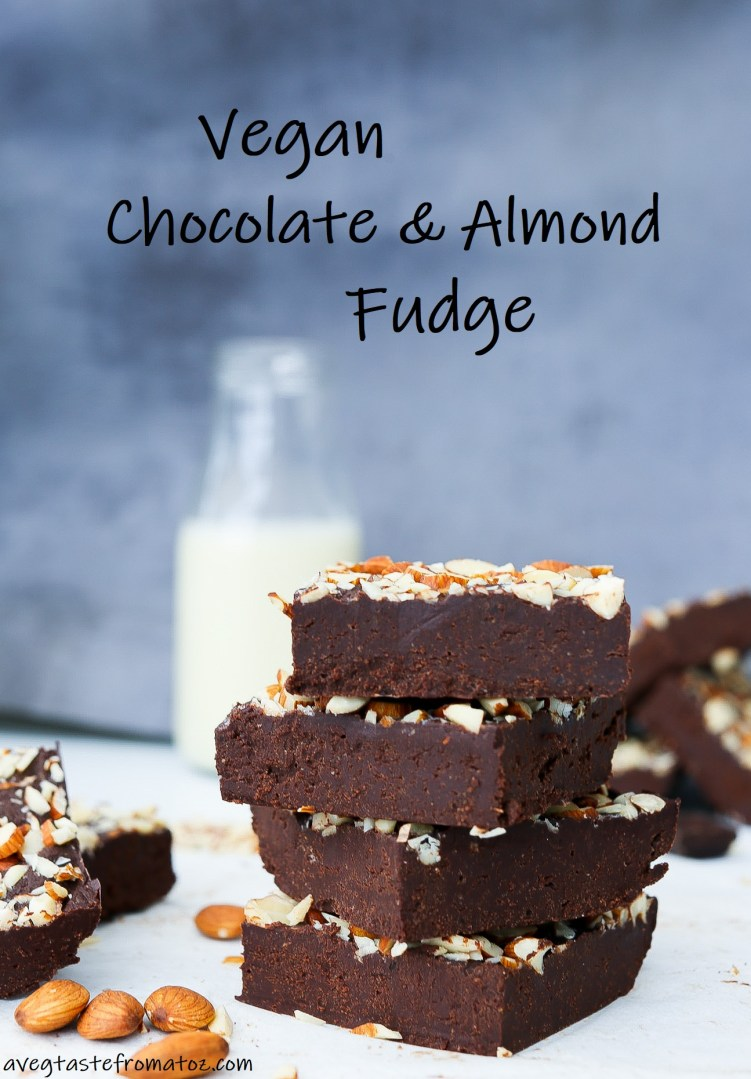 Vegan Chocolate and Almond Fudge image for pinterest